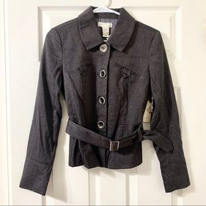 Fylo Button Down Dress Jacket with Belt NWT